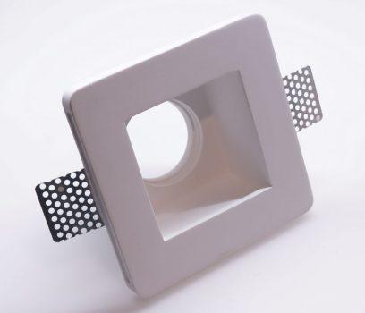 ISOLED 112075 Süllyesztett gipsz lámpatest, négyzet alakú szatén üveg 120x120 mm