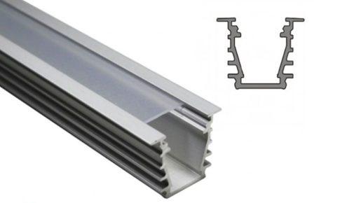DEEP10 ALU profil LED szalagokhoz NATUR-ELOXÁLT-FEKETE-FEHÉR