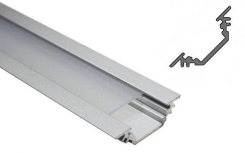 TRIO10 ALU LED profil 10 mm-es LED szalagok 45°-os beépítéséhez ELOXÁLT