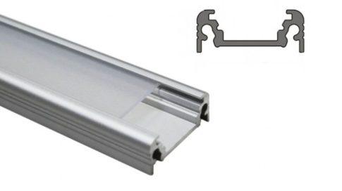 SURFACE14 ALU profil LED szalagokhoz 14 mm-es belső méret NATUR-ELOXÁLT-FEKETE-FEHÉR