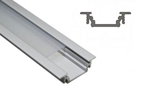 GROOVE14 ALU profil LED szalagokhoz 14 mm-es belső méret NATUR-ELOXÁLT-FEKETE-FEHÉR